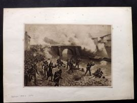 Henri Dupray 1902 Antique Military Print. Allies before Paris 1814.
